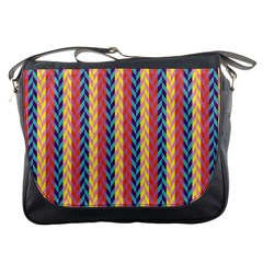 Colorful Chevron Retro Pattern Messenger Bags by DanaeStudio