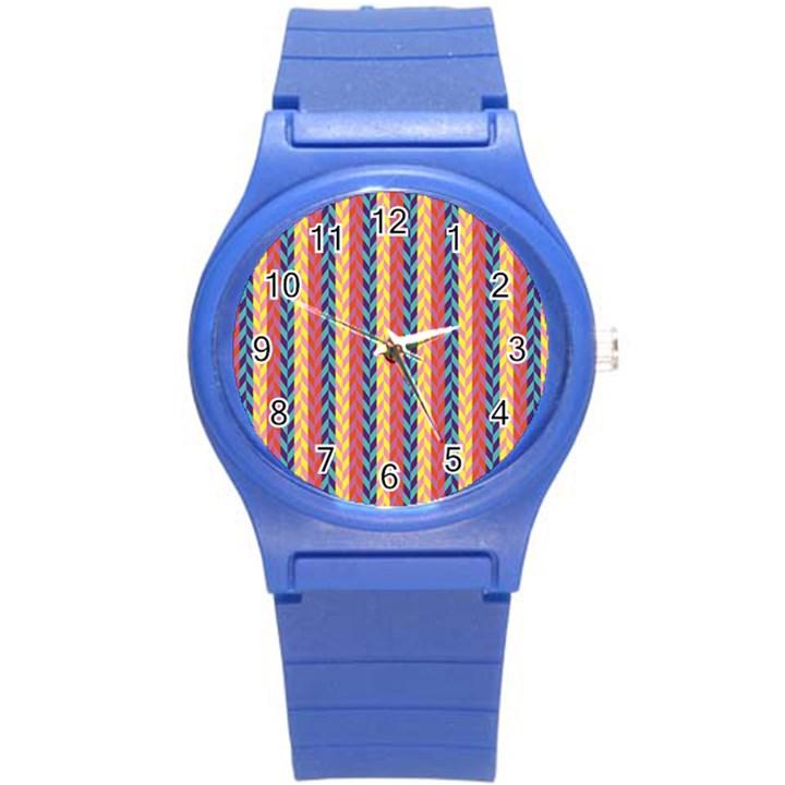 Colorful Chevron Retro Pattern Round Plastic Sport Watch (S)