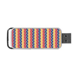 Colorful Chevron Retro Pattern Portable Usb Flash (two Sides) by DanaeStudio