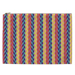 Colorful Chevron Retro Pattern Cosmetic Bag (xxl)  by DanaeStudio