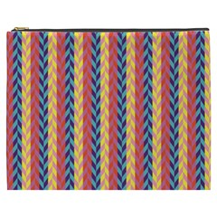 Colorful Chevron Retro Pattern Cosmetic Bag (xxxl)  by DanaeStudio