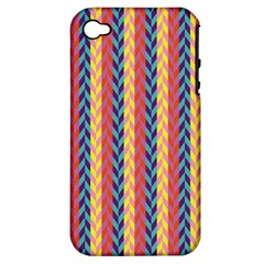 Colorful Chevron Retro Pattern Apple Iphone 4/4s Hardshell Case (pc+silicone)
