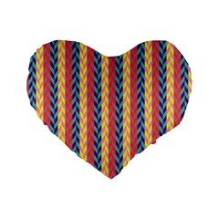 Colorful Chevron Retro Pattern Standard 16  Premium Heart Shape Cushions