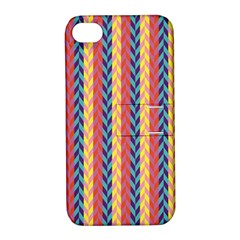 Colorful Chevron Retro Pattern Apple Iphone 4/4s Hardshell Case With Stand by DanaeStudio