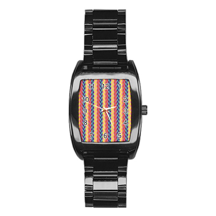 Colorful Chevron Retro Pattern Stainless Steel Barrel Watch