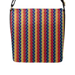 Colorful Chevron Retro Pattern Flap Messenger Bag (l)  by DanaeStudio