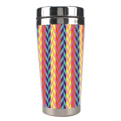 Colorful Chevron Retro Pattern Stainless Steel Travel Tumblers by DanaeStudio