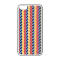 Colorful Chevron Retro Pattern Apple Iphone 5c Seamless Case (white) by DanaeStudio