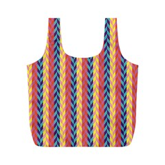 Colorful Chevron Retro Pattern Full Print Recycle Bags (m)  by DanaeStudio