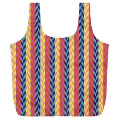 Colorful Chevron Retro Pattern Full Print Recycle Bags (l)  by DanaeStudio