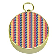 Colorful Chevron Retro Pattern Gold Compasses