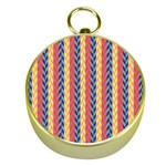 Colorful Chevron Retro Pattern Gold Compasses Front