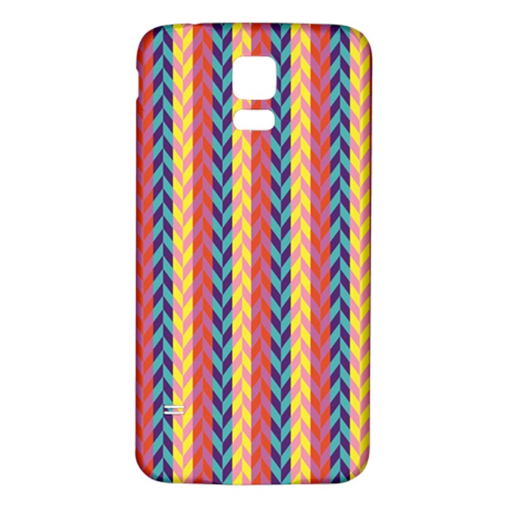 Colorful Chevron Retro Pattern Samsung Galaxy S5 Back Case (White)