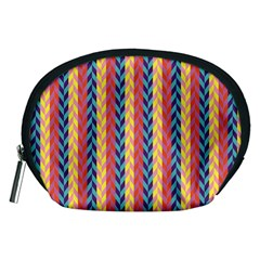 Colorful Chevron Retro Pattern Accessory Pouches (medium)  by DanaeStudio
