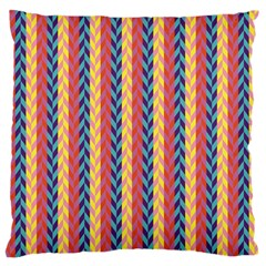 Colorful Chevron Retro Pattern Large Flano Cushion Case (two Sides) by DanaeStudio
