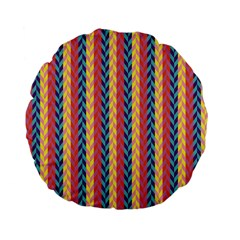 Colorful Chevron Retro Pattern Standard 15  Premium Flano Round Cushions by DanaeStudio