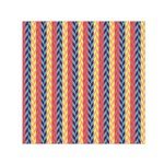 Colorful Chevron Retro Pattern Small Satin Scarf (Square)  Front