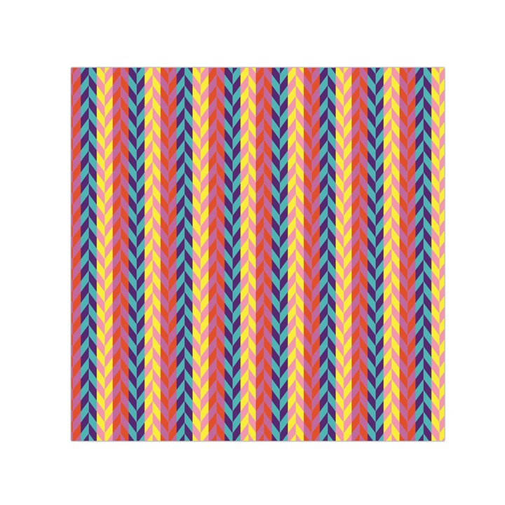 Colorful Chevron Retro Pattern Small Satin Scarf (Square)