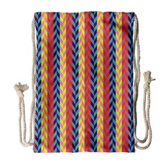 Colorful Chevron Retro Pattern Drawstring Bag (large) by DanaeStudio