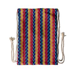 Colorful Chevron Retro Pattern Drawstring Bag (small) by DanaeStudio