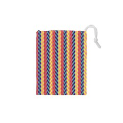 Colorful Chevron Retro Pattern Drawstring Pouches (xs)  by DanaeStudio