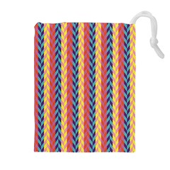 Colorful Chevron Retro Pattern Drawstring Pouches (extra Large) by DanaeStudio
