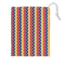 Colorful Chevron Retro Pattern Drawstring Pouches (xxl) by DanaeStudio
