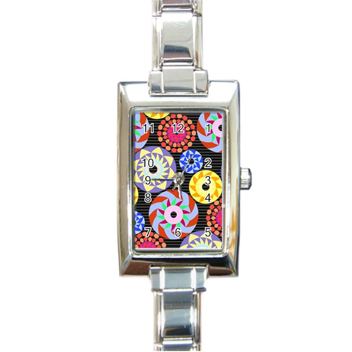 Colorful Retro Circular Pattern Rectangle Italian Charm Watch