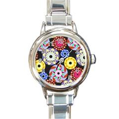 Colorful Retro Circular Pattern Round Italian Charm Watch by DanaeStudio