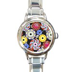 Colorful Retro Circular Pattern Round Italian Charm Watch Front