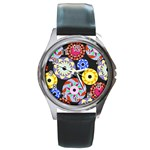 Colorful Retro Circular Pattern Round Metal Watch