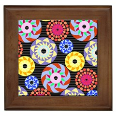 Colorful Retro Circular Pattern Framed Tiles by DanaeStudio