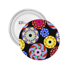 Colorful Retro Circular Pattern 2 25  Buttons