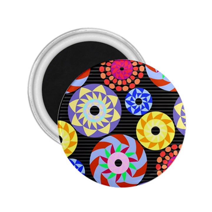 Colorful Retro Circular Pattern 2.25  Magnets