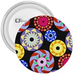 Colorful Retro Circular Pattern 3  Buttons