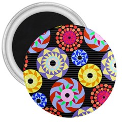 Colorful Retro Circular Pattern 3  Magnets by DanaeStudio