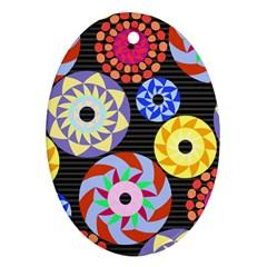 Colorful Retro Circular Pattern Ornament (oval)  by DanaeStudio