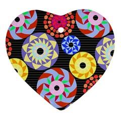 Colorful Retro Circular Pattern Ornament (heart)  by DanaeStudio