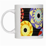Colorful Retro Circular Pattern White Mugs
