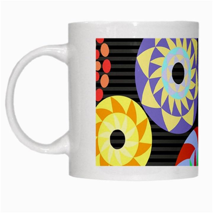 Colorful Retro Circular Pattern White Mugs