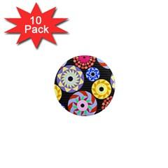 Colorful Retro Circular Pattern 1  Mini Magnet (10 Pack)  by DanaeStudio
