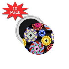Colorful Retro Circular Pattern 1 75  Magnets (10 Pack)