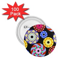 Colorful Retro Circular Pattern 1 75  Buttons (100 Pack)