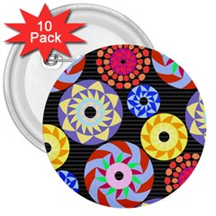 Colorful Retro Circular Pattern 3  Buttons (10 Pack)  by DanaeStudio