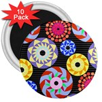 Colorful Retro Circular Pattern 3  Magnets (10 pack)
