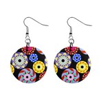 Colorful Retro Circular Pattern Mini Button Earrings
