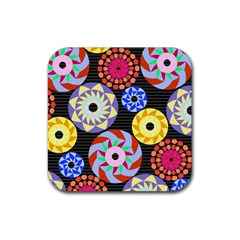 Colorful Retro Circular Pattern Rubber Coaster (square)  by DanaeStudio