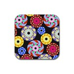 Colorful Retro Circular Pattern Rubber Coaster (Square)