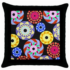 Colorful Retro Circular Pattern Throw Pillow Case (black) by DanaeStudio