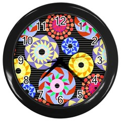 Colorful Retro Circular Pattern Wall Clocks (black) by DanaeStudio